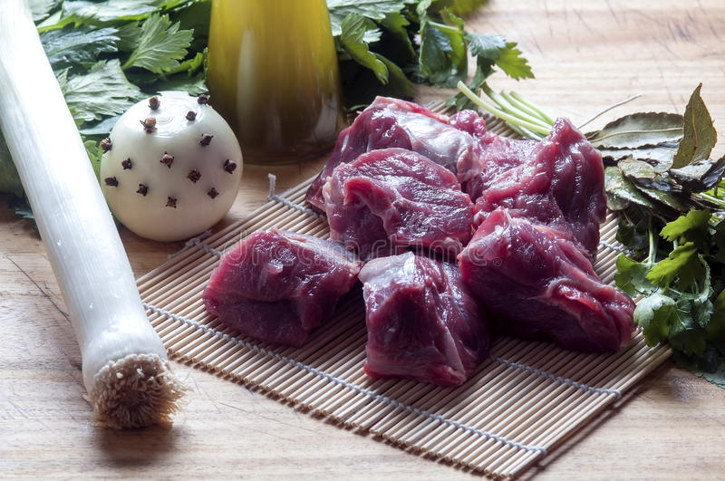 Ingredients for the preparation of meat broth stock photos