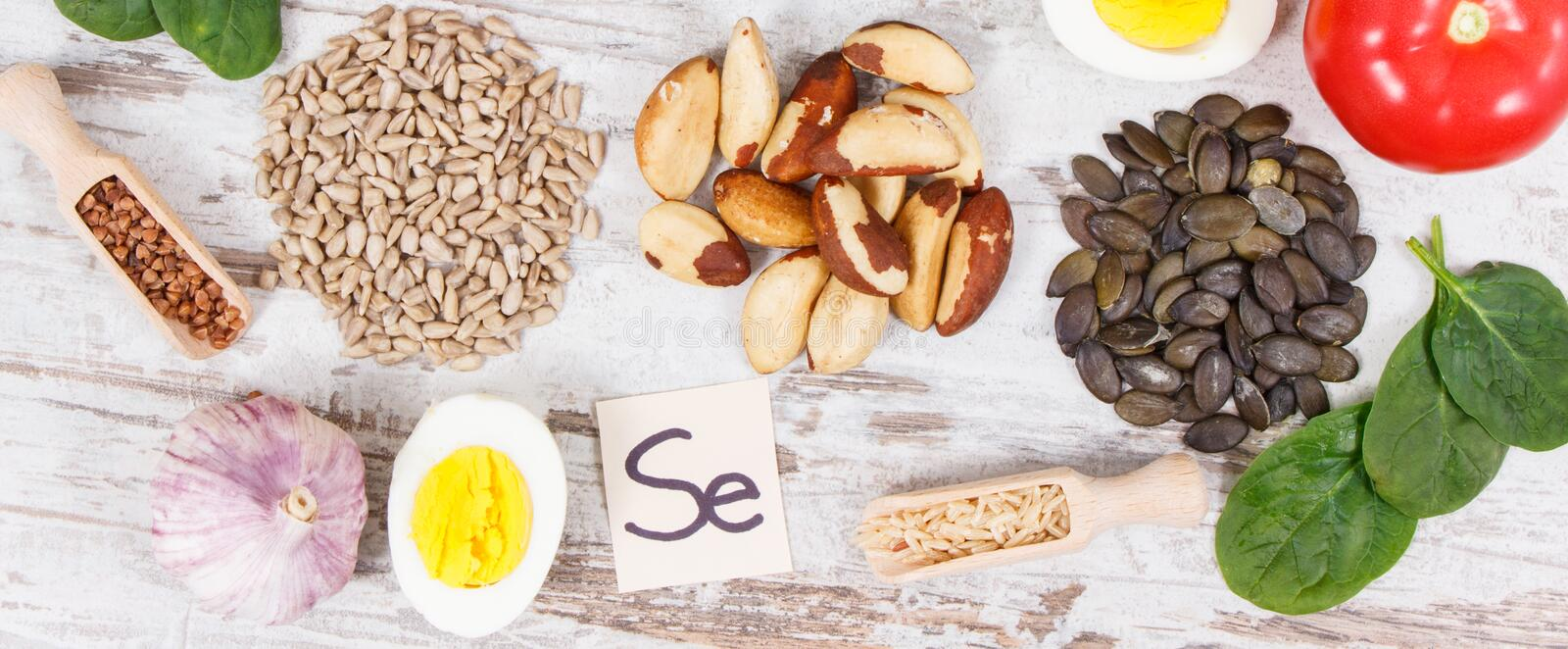 Ingredients or products as source selenium, vitamins, minerals and dietary fiber. Natural ingredients or products as source selenium, vitamins, minerals and royalty free stock photos