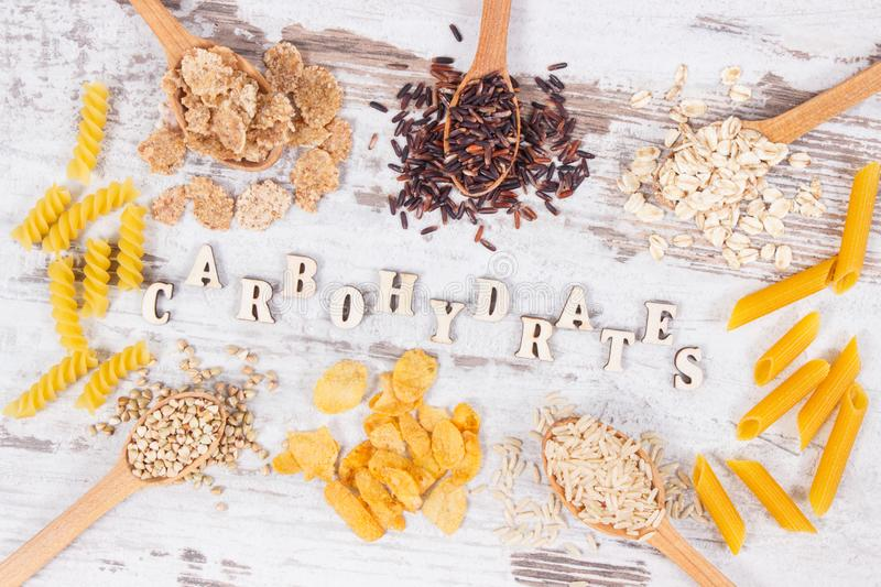 Products and ingredients containing carbohydrates and dietary fiber, healthy nutrition royalty free stock photography