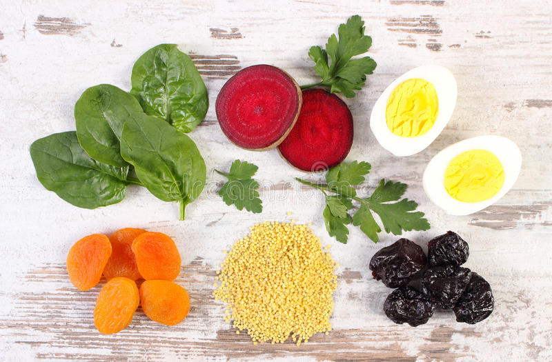 Ingredients and products containing iron and dietary fiber, healthy nutrition. Ingredients and products containing iron and dietary fiber, natural sources of stock images