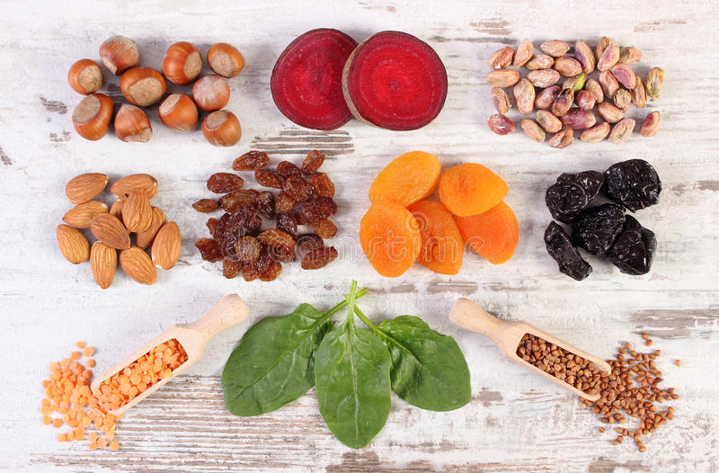 Ingredients and products containing iron and dietary fiber, healthy nutrition. Ingredients and product containing iron and dietary fiber, natural sources of stock images