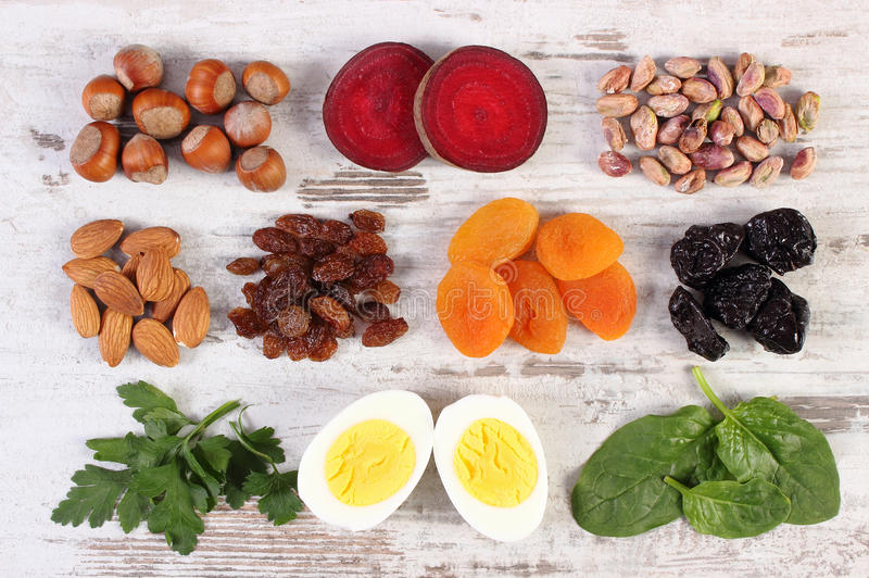 Ingredients and products containing iron and dietary fiber, healthy nutrition. Ingredients and product containing iron and dietary fiber, natural sources of stock photography
