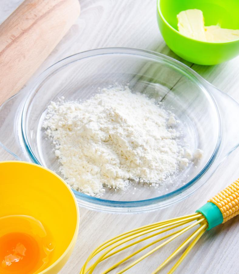 Ingredients ready for baking cookies stock photography