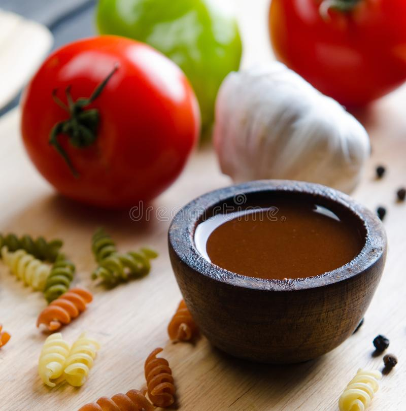 Ingredients ready for italian pasta sauce stock photos