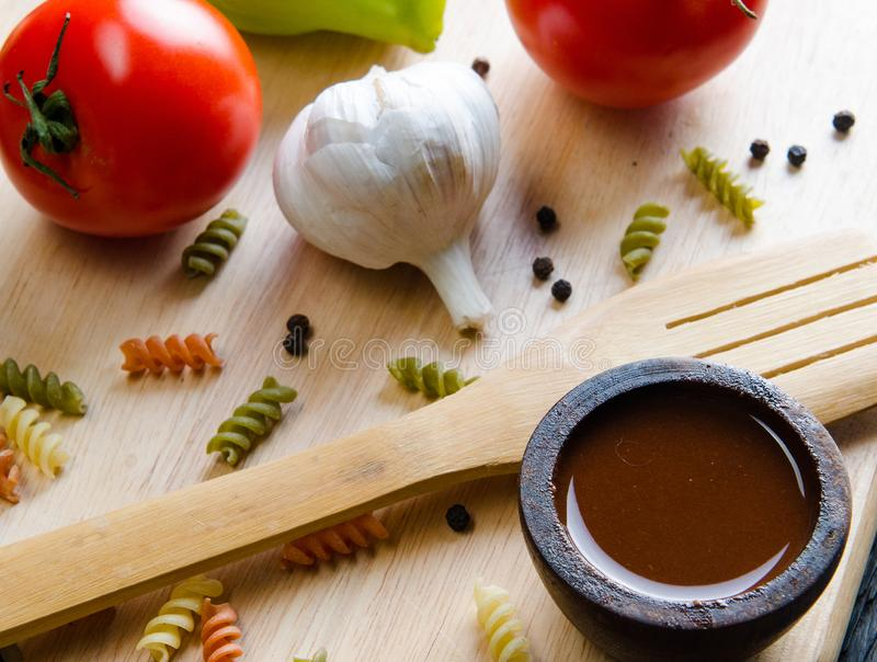 Ingredients ready for italian pasta sauce royalty free stock image