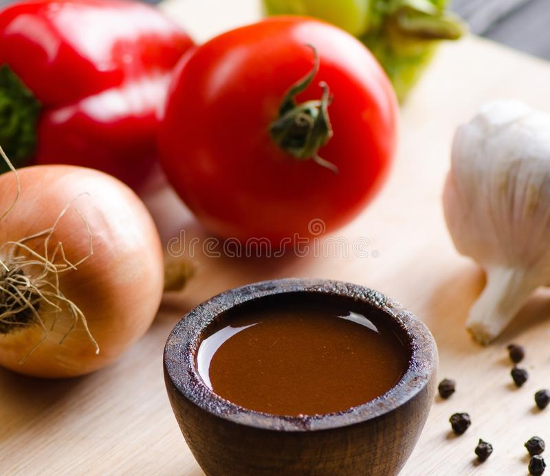 Ingredients ready for italian pasta sauce stock image