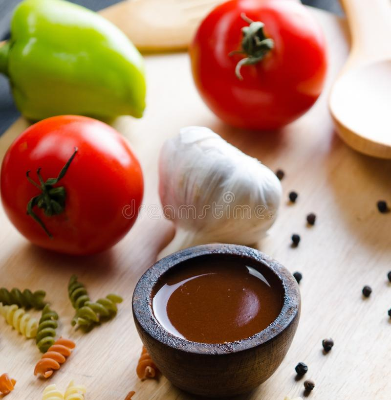Ingredients ready for italian pasta sauce royalty free stock images