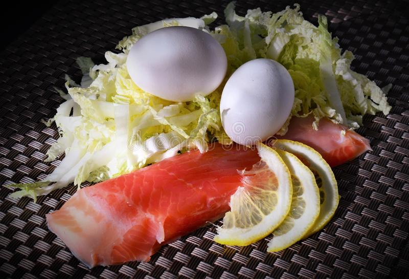 Ingredients for salad with red fish stock photos