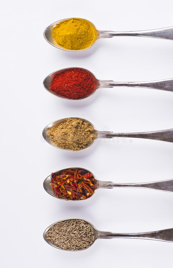 Free Ingredients Spices 2 In Spoons Isolated On White Background Royalty Free Stock Images - 40139049