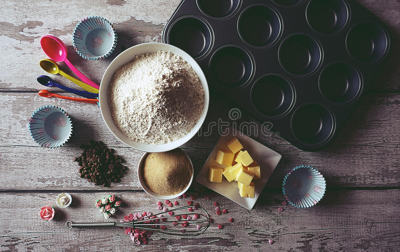 Ingredients On Table royalty free stock photos