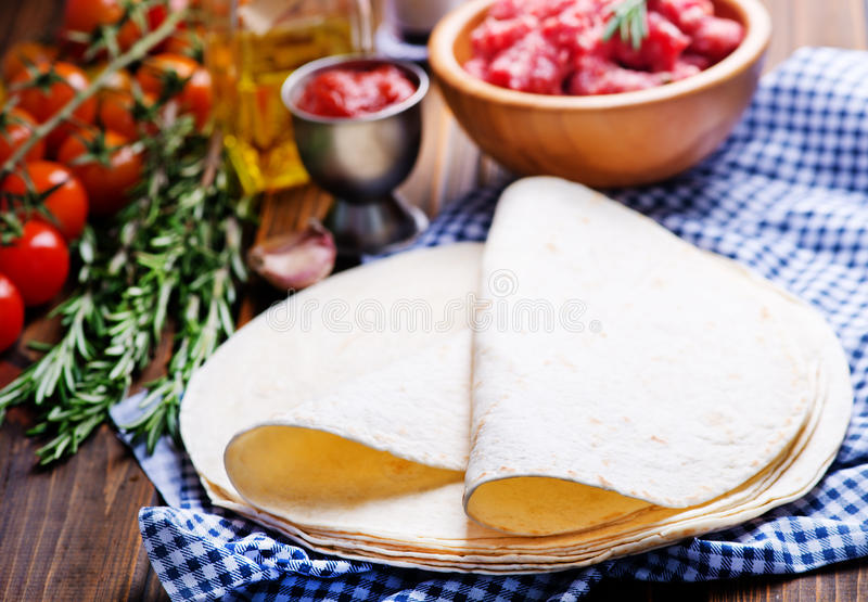 Ingredients for tacos stock images