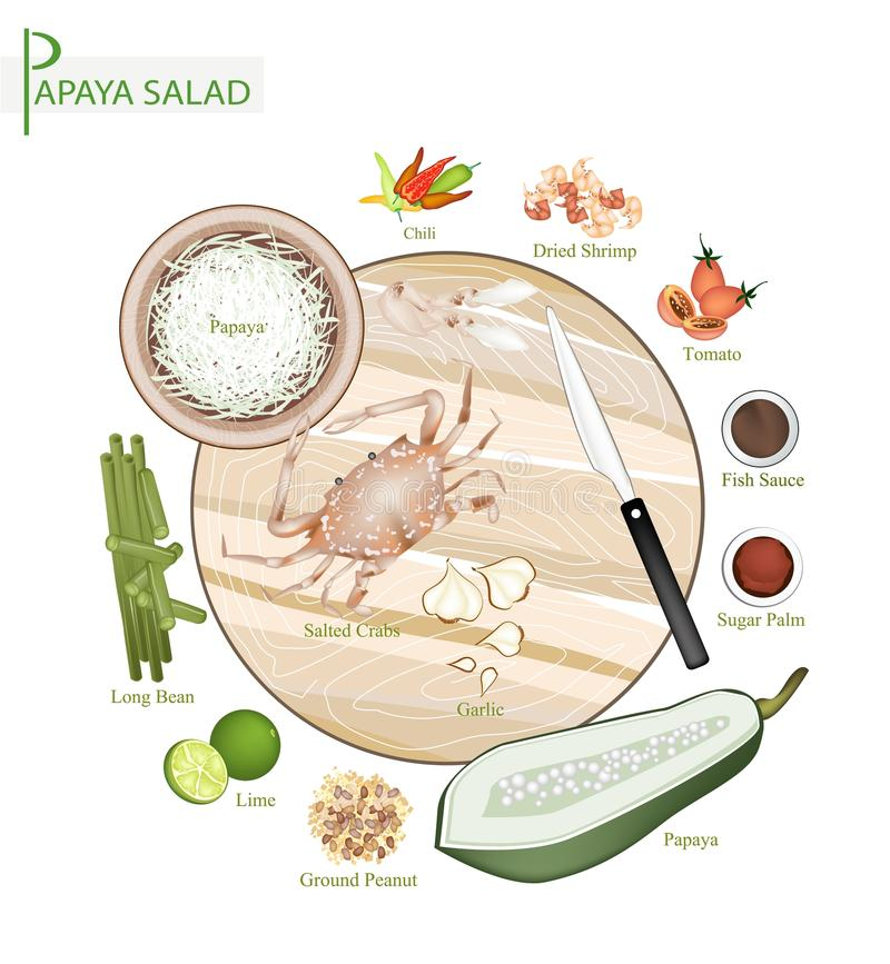 12 Ingredients Thai Green Papaya Salad Recipe. Cuisine and Food, 12 Ingredients Green Papaya Salad with Fermented Blue Crabs and Dried Shrimps. One of The Most stock illustration