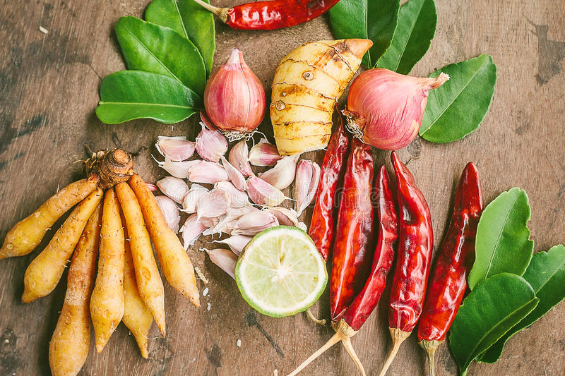 Ingredients of Thai spicy food, tom yum. stock photo