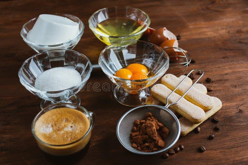 The ingredients of tiramisu royalty free stock images