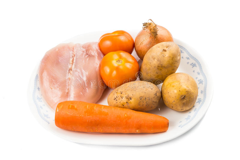 Ingredients to double boil Chinese potatoes, carrots, tomatoes soup.  royalty free stock photography