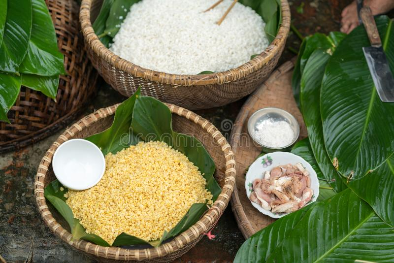 Ingredients to make Chung cake, the Vietnamese traditional lunar new year food stock images