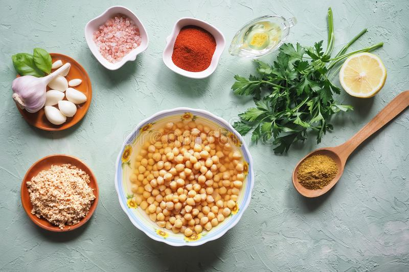 Ingredients for traditional hummus. Arabic traditional snack. royalty free stock photography