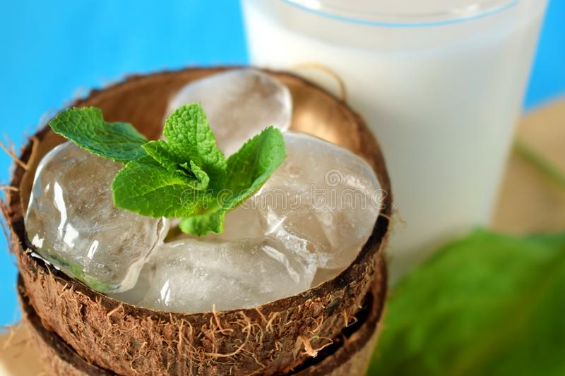 Ingredients for a tropical cocktail on blue background stock image