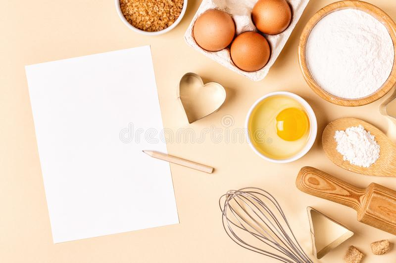Ingredients and utensils for baking on a pastel background. royalty free stock photos