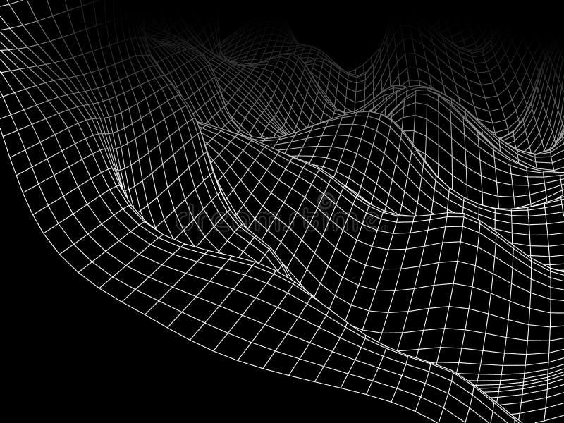 ingrepp för våg för abstrakt begrepp 3D digitalt Futuristiskt vektorbegrepp Techn royaltyfri illustrationer