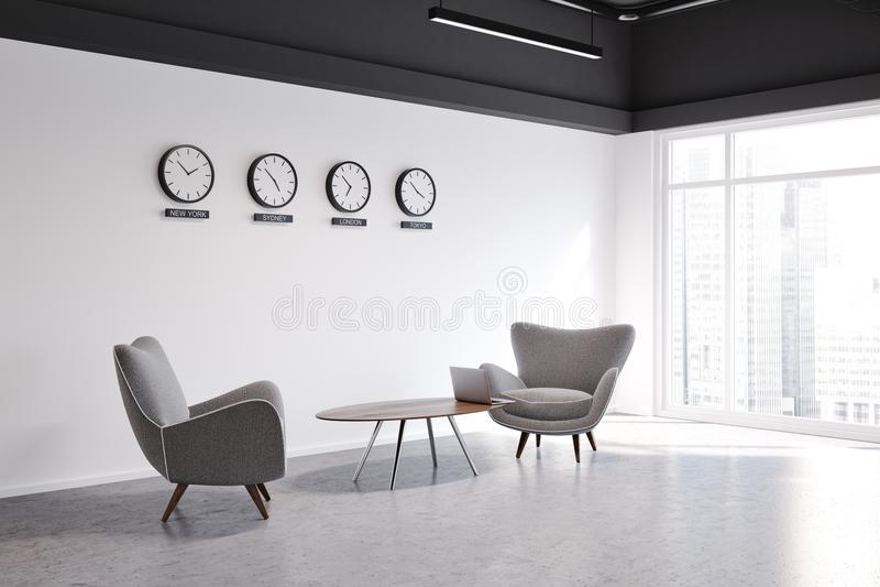Ingresso bianco dell'ufficio della parete con la vista laterale degli orologi illustrazione di stock
