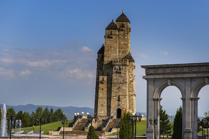 Ingushetia, Magas, 27 June 2018, memorial of glory, Park with historical building, editorial stock photos