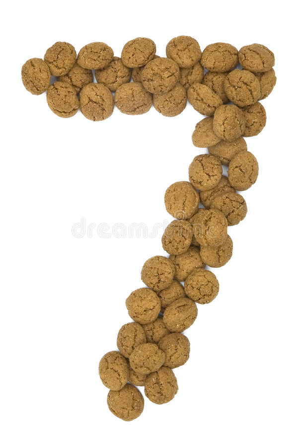 Ingwer-Nuts Zahl sieben stockfotos