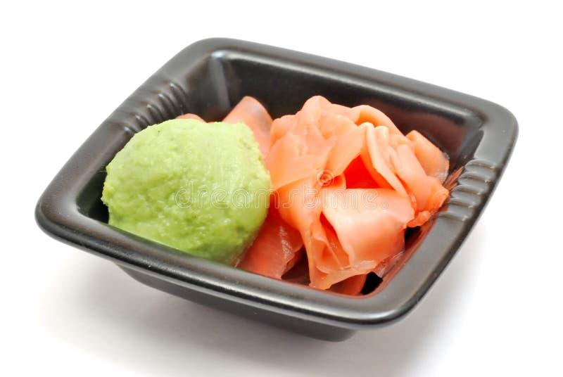 Ingwer und wasabi stockbild