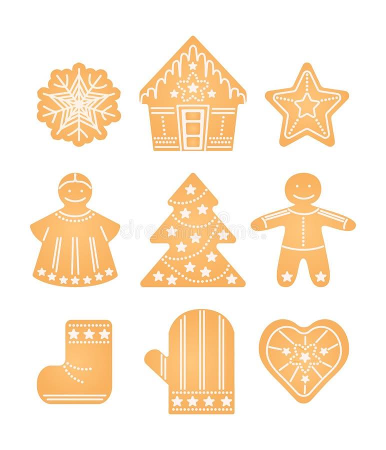 Ingwerkeks Weihnachten, neues Jahr, süßer Elementsatz der Winterurlaube stock abbildung
