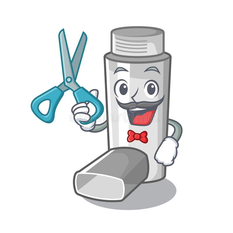 Inhalador del asma del peluquero en la forma de la historieta ilustración del vector