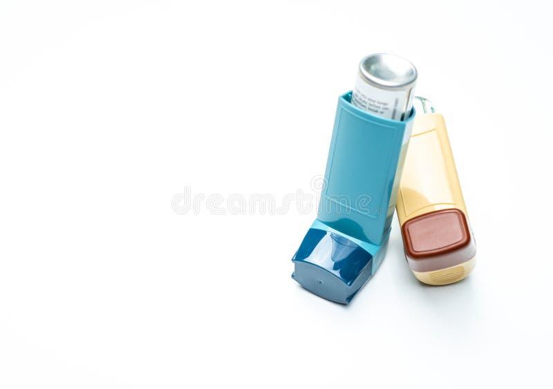 Inhalateur d'asthme Contrôleur d'asthme, équipement de soulageur Les stéroïdes et le bronchodilateur dopent pour l'asthme et la b image libre de droits