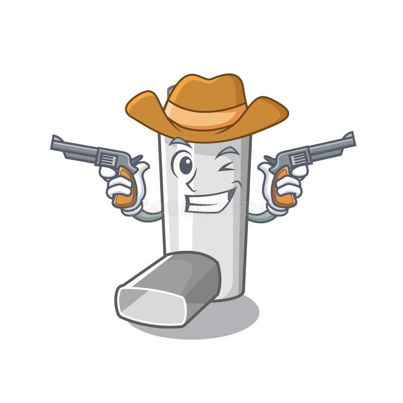 Inhalateur d'asthme de cowboy dans la forme de bande dessinée illustration libre de droits