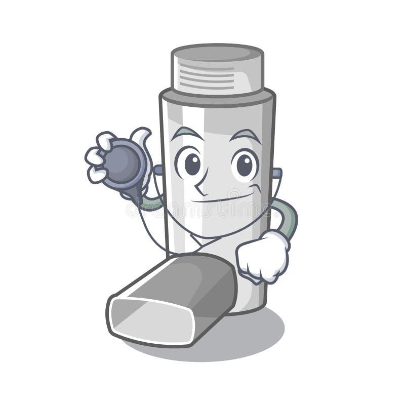 Inhalateur d'asthme de docteur dans la forme de bande dessinée illustration de vecteur