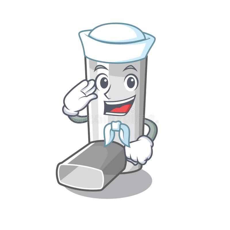 Inhalateur d'asthme de marin dans la forme de bande dessinée illustration de vecteur