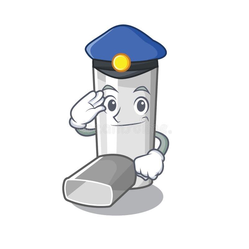 Inhalateur d'asthme de police dans la forme de bande dessinée illustration stock
