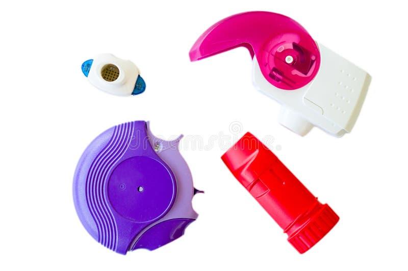 Inhalateur d'asthme sur un fond blanc photographie stock