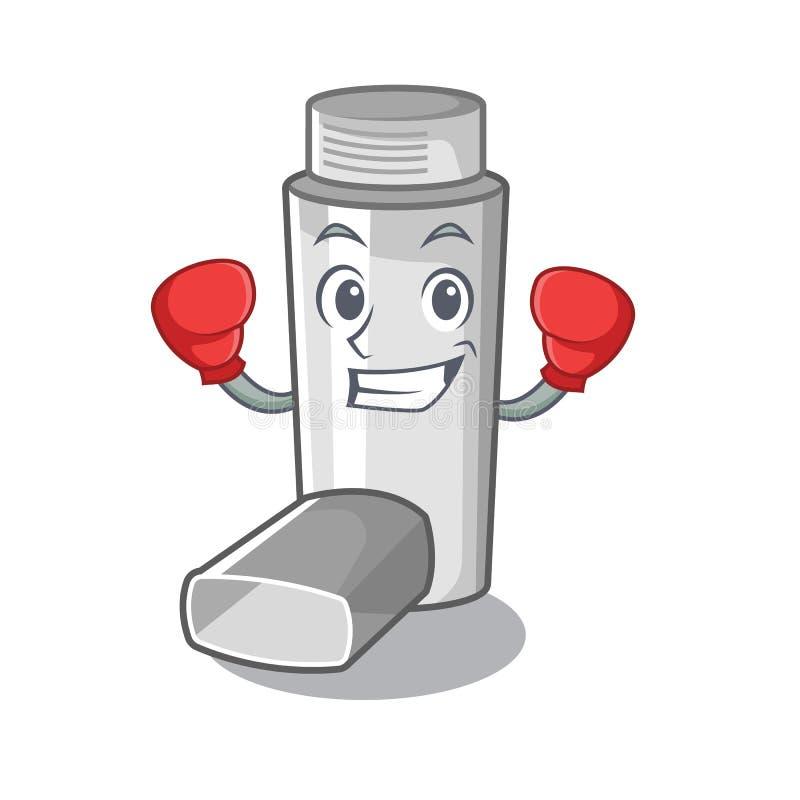 Inhalateur de boxe d'asthme dans la forme de bande dessinée illustration de vecteur