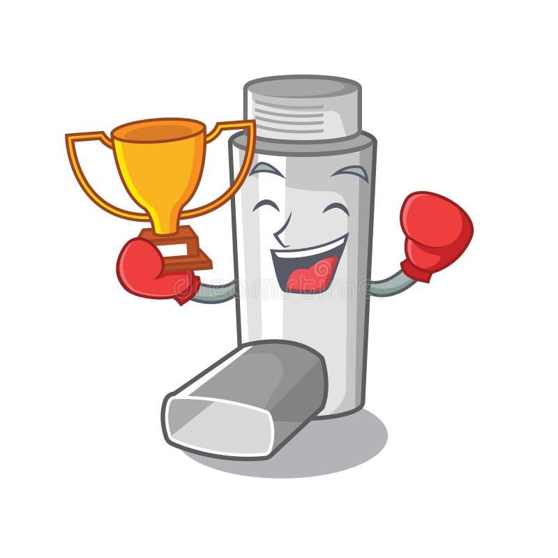 Inhalateur de boxe d'asthme de gagnant dans le sac de caractère illustration libre de droits