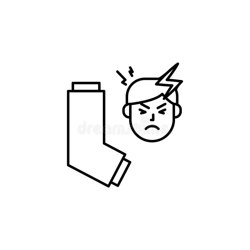 Inhalateur, icône allergique de visage Élément des problèmes avec l'icône d'allergies Ligne mince icône pour la conception de sit illustration libre de droits