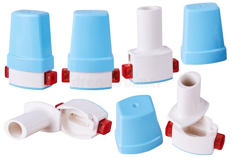 Inhalateur personnel de capsule de poche dans diverses positions d'isolement photos libres de droits