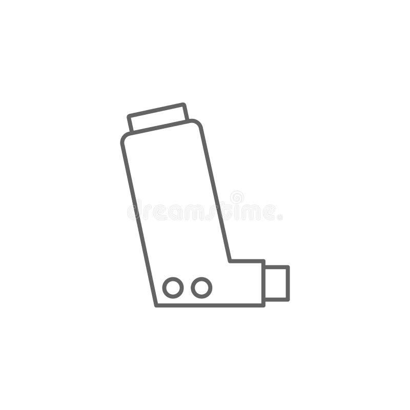 Inhalator, Asthma-Symbol Symbol für Medizin Symbol für dünne Linie vektor abbildung