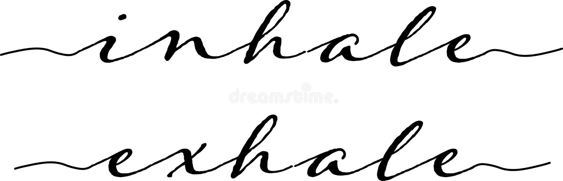 Inhale expira a tipografia ilustração stock
