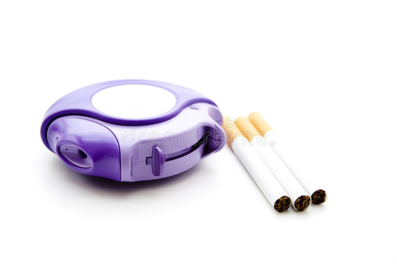 Inhaler with cigarets. Inhaler for powder for the lung with cigarets stock images