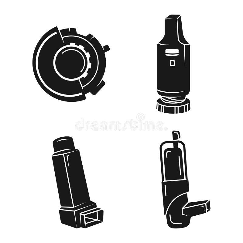 Inhaler icons set, simple style. Inhaler icons set. Simple set of inhaler vector icons for web design on white background royalty free illustration