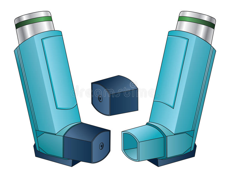 Inhaler. Is an illustration of an  used by people with asthma, allergies or other breathing problems vector illustration