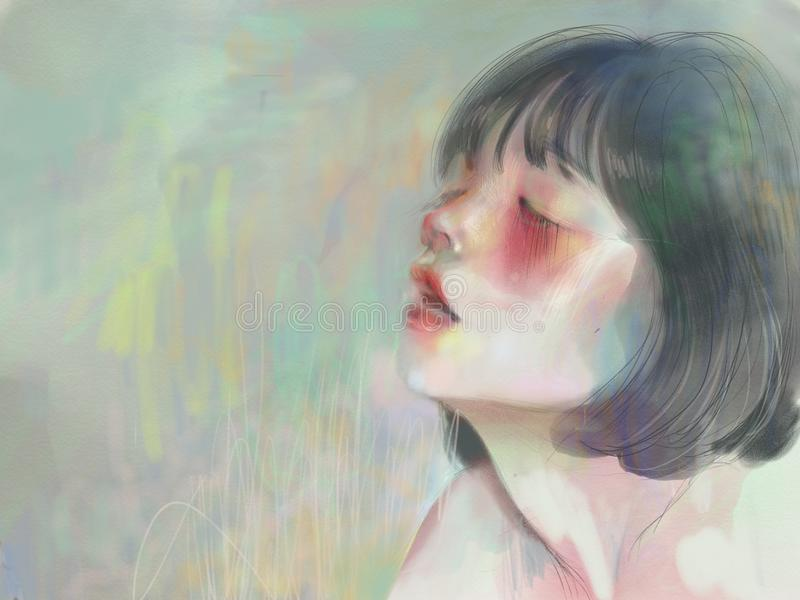 Inhaling, blushing girl with red cheeks in peaceful soft pastel colors royalty free illustration