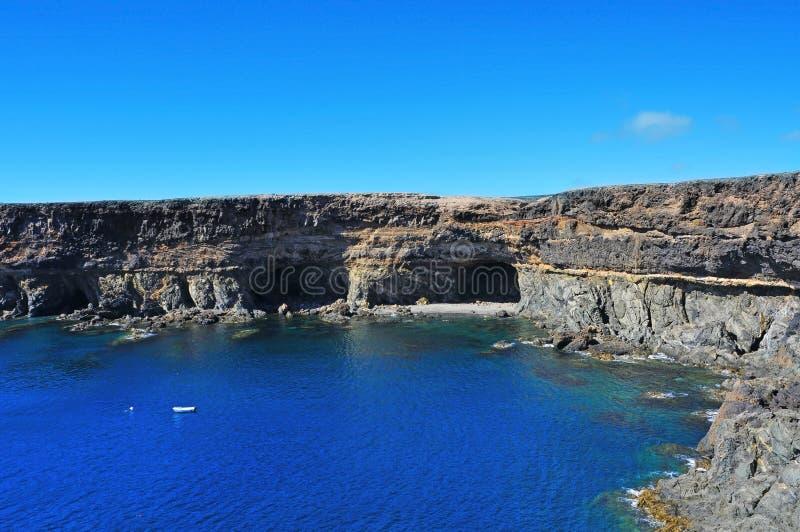 Inhammen en holen in Ajuy, Fuerteventura, Spanje royalty-vrije stock foto