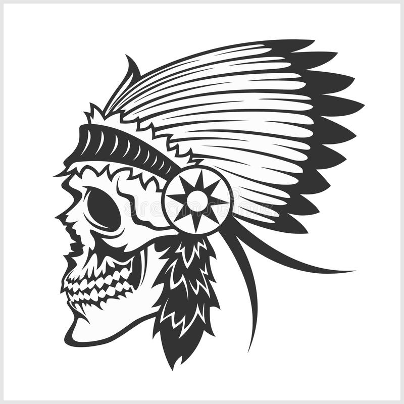 Inheems Amerikaans Indisch belangrijkst hoofddeksel, mascotte in stammenstijl royalty-vrije illustratie