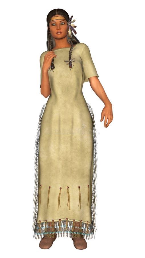 Inheems Amerikaans Meisje vector illustratie