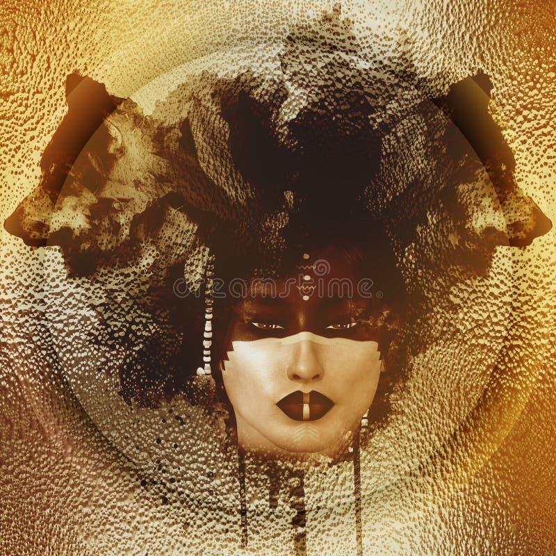 Inheems Amerikaans meisje met abstracte sepia van het Wolfshoofddeksel kleur royalty-vrije illustratie